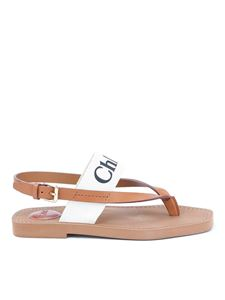 Chloé - Thong sandals in beige with logo band