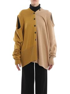 Marni - Wool oversized cardigan in Gold color