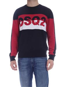 Dsquared2 - Pullover with logo insert in black white and red