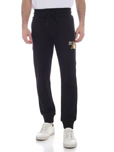 Versace Jeans Couture - Laminated logo print pants in black