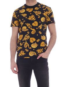 Versace Jeans Couture - Gold Baroque print T-shirt in black