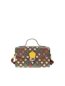 Gucci - GG and hearts pattern handbag in beige