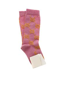 Gucci - GG motif socks in lamé pink