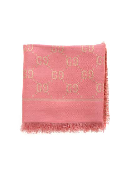 Gucci - Shawl with golden lamé GG motif in pink
