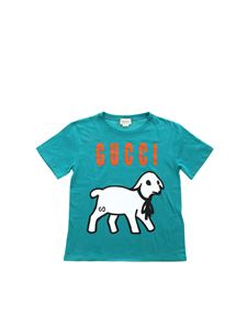Gucci - Lamb print T-shirt in teal blue