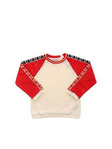 Gucci - GG logo sweatshirt in beige and red