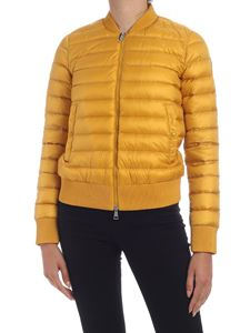 Moncler - Abricot padded bomber jacket in ocher yellow