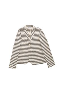 Dondup - Single-breasted striped jacket in ivory and blue