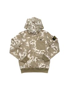Stone Island Junior - Camouflage hoodie in green and white
