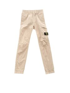 Stone Island Junior - Logo patch pants in beige