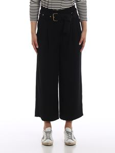 Michael Kors - Black cady belted high rise trousers