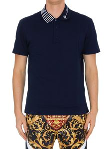 Versace - GV Signature embroidery polo shirt in blue