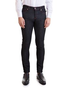 Versace Collection - Greca patch jeans in dark blue