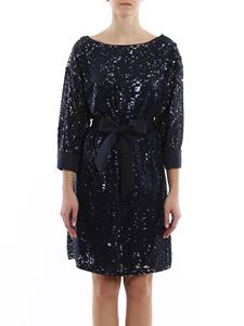 Emporio Armani - Belted sequined dress in blue