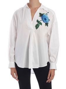 Blumarine - Floral embroidery oversized blouse in white