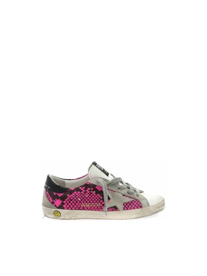 Golden Goose - Superstar reptile print sneakers in fuchsia