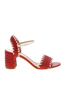 Casadei - Woven leather sandals in red and white