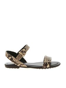Tod's - Reptile print sandals in beige and brown