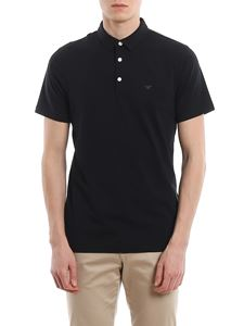 Emporio Armani - Navy stretch jersey cotton polo shirt