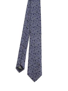 Emporio Armani - Paisley and polka dot patterned tie in blue