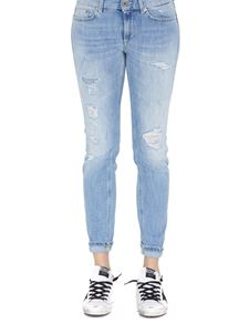 Dondup - Monroe low waist distressed denim jeans in light blue