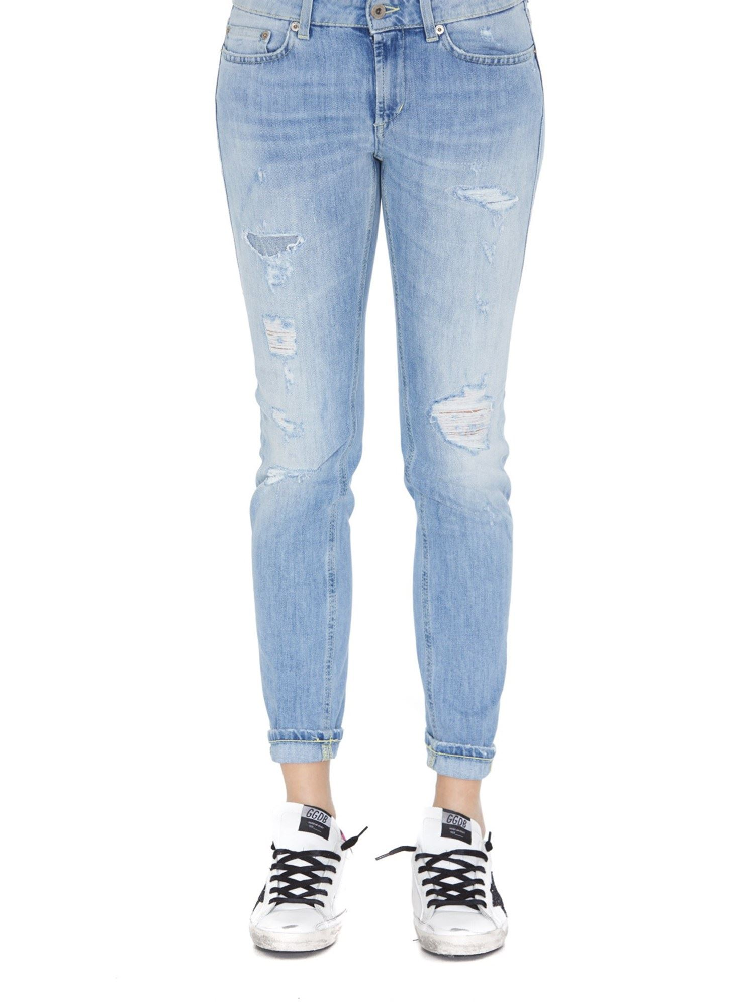 Dondup MONROE LOW WAIST DISTRESSED DENIM JEANS IN LIGHT BLUE