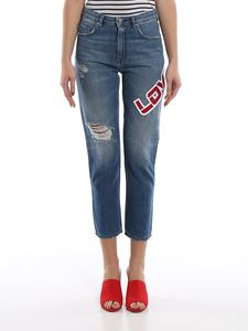 Love Moschino - LOVE patch destroyed jeans
