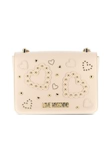 Love Moschino - Studded hearts shoulder bag in ivory color