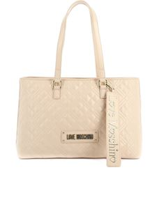 Love Moschino - Quilted tote in pale pink