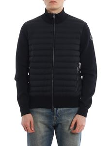 Moncler - Padded front tricot cardigan in blue