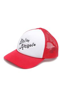 Palm Angels - New Gothic logo baseball cap in red and white