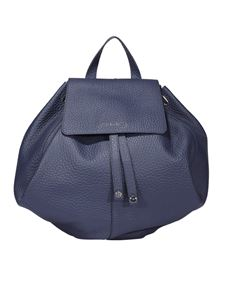 Orciani - Soft hammered leather bucket shaped backpack in blue