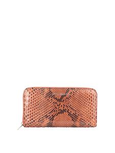 Orciani - Diamond python print wallet in orange