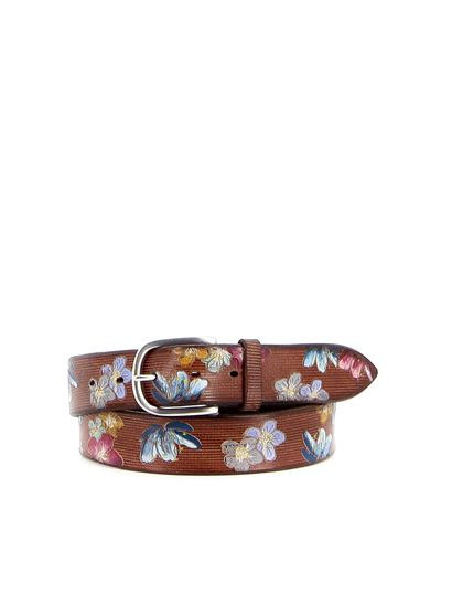Orciani - China floral print leather belt in tan color