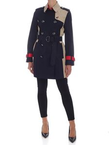 Tommy Icons - Blue trench coat with beige and red details