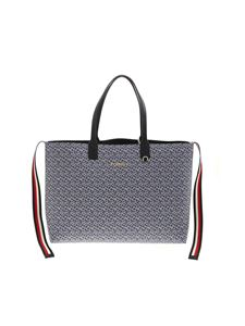 Tommy Hilfiger - Monogram tote bag in blue and white