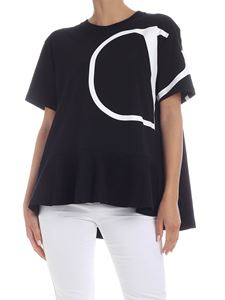 Valentino - VLogo T-shirt in black with flounce