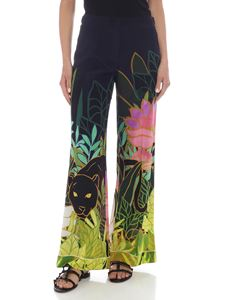 Valentino - Printed pajamas pants in blue silk