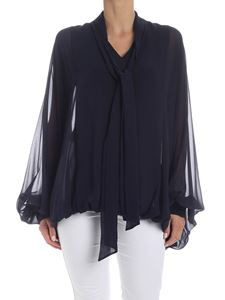 Valentino - Tie-neck blouse in blue silk