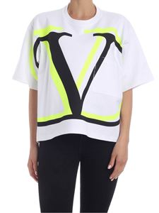 Valentino - Fluo yellow VLogo T-shirt in white