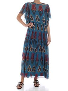 Red Valentino - Long printed dress in petrol color