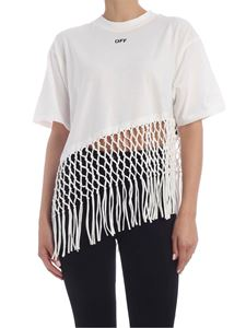 Off-White - Fringed T-shirt in white