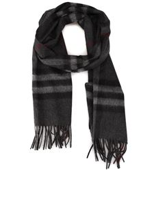 Burberry - Check patterned scarf in Charcoal color