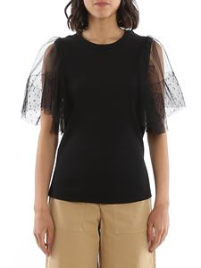 Red Valentino - Tulle sleeve top in black