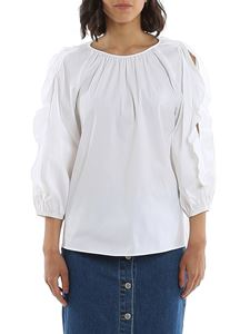Red Valentino - Cut out sleeve blouse in optic white