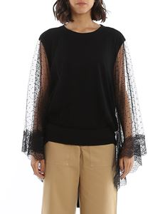 Red Valentino - Point d'esprit tulle top in black
