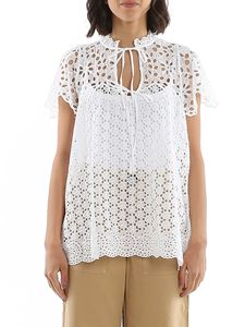 POLO Ralph Lauren - Broderie anglaise blouse in white
