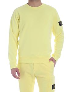 Stone Island - Logo patch crew neck sweatshirt in yellow