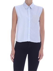 Woolrich - Sleeveless shirt in white and blue