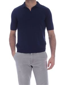 Ballantyne - Single button polo shirt in blue